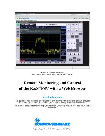 Remote Monitoring and Control with VNC - Rohde & Schwarz