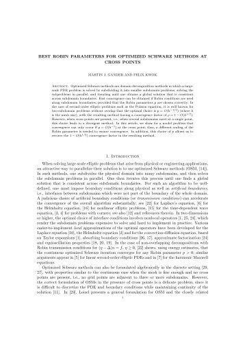 Best Robin Parameters for Optimized Schwarz Methods at