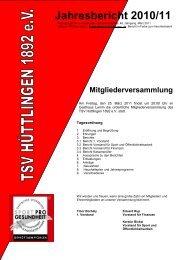 Jahresbericht 2010/11 - TSV Hüttlingen 1892 eV