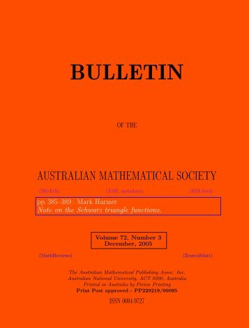 Note on the Schwarz triangle functions - Australian Mathematical ...