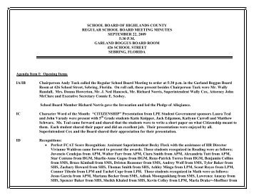 SCHOOL BOARD OF HIGHLANDS COUNTY - The School Board of ...
