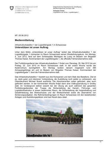 Medienmitteilung Fahneübernähme 04.06.2012 - Logistikbasis der ...