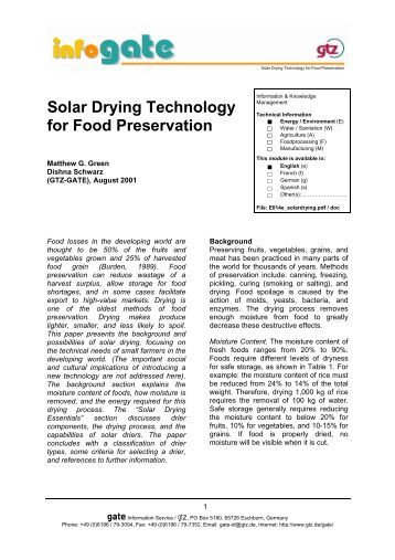 Solar Drying Technology for Food Preservation - Pioneer Living ...