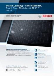 Starke Leistung – hohe Stabilität. Bosch Solar ... - Krannich Solar