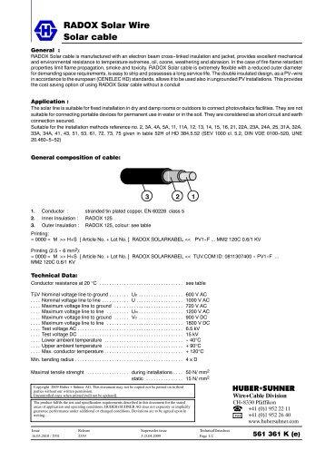 Solar cable RADOX Solar Wire - composites.ch