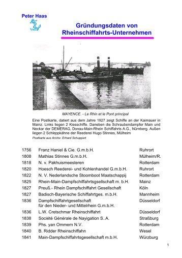 Peter Haas Gründungsdaten von Rheinschiffahrts-Unternehmen