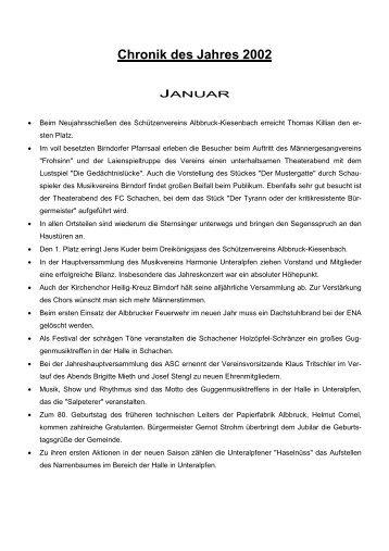 Chronik des Jahres 2002 - Gemeinde Albbruck