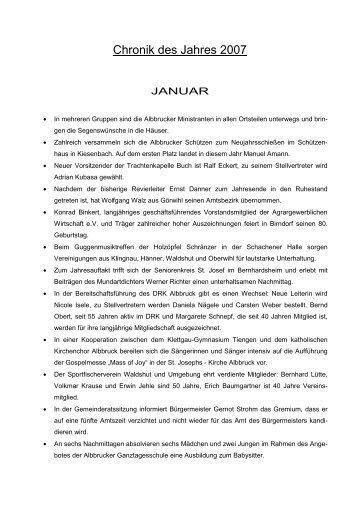 Chronik des Jahres 2007 - Gemeinde Albbruck