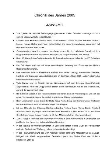 Chronik des Jahres 2005 - Gemeinde Albbruck