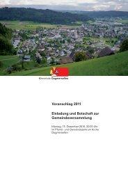 und Aufgabenplan 2011 - Gemeinde Dagmersellen