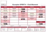 Kursplan SPIRIT4 - Club Werneck - SPIRIT4 - Fitness & Wellness Club