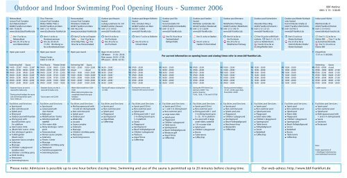 Outdoor and Indoor Swimming Pool Opening Hours & prices ...