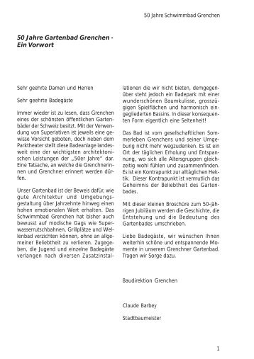 50 Jahre Schwimmbad Grenchen 1956-2006. - Museums ...
