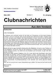 Clubnachrichten Aus dem Vorstand - SAC Sektion Grenchen