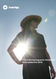 Präventionsprogramm Hautkrebs - Schlussbericht 2010 1