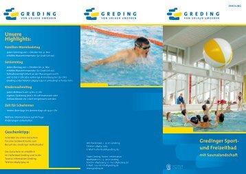 Gredinger Sport- und Freizeitbad Unsere Highlights: - Stadt Greding