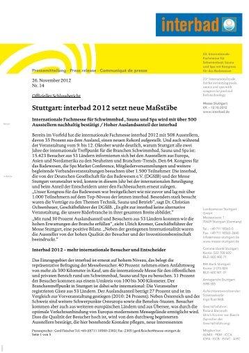 Stuttgart: interbad 2012 setzt neue Maßstäbe