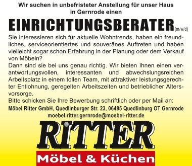 Einrichtungsberater bei Möbel Ritter in Gernrode gesucht