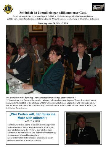 Bericht Meeting Freizeit und Schmuck vom 24.03.2009 - Lions Club ...