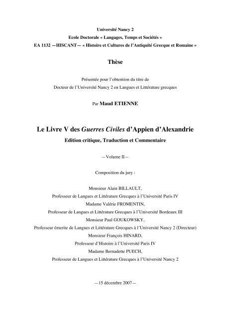 Le Livre V des Guerres Civiles d'Appien d'Alexandrie