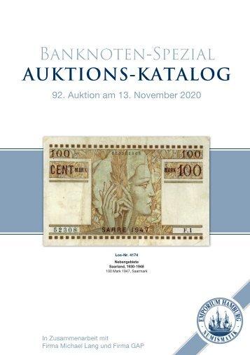 92. Auktion 92 - Banknoten-Spezial - Emporium Hamburg