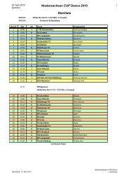 Niedersachsen CUP Dance 2010 Startliste - NTB