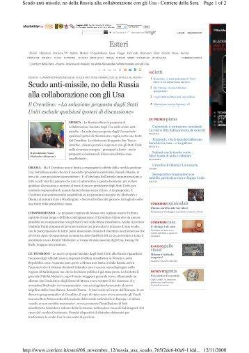 Esteri Scudo anti-missile, no della Russia alla ... - ANDE