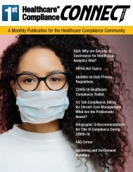 First Healthcare Compliance CONNECT October 2020