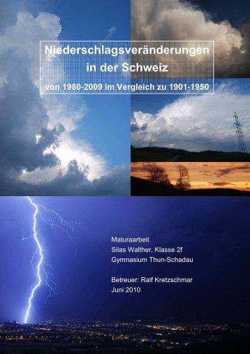 Niederschlagsveränderungen in der Schweiz