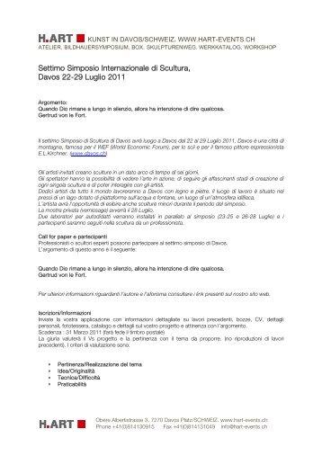 Settimo Simposio Internazionale di Scultura, Davos 22-29 ... - H-Art