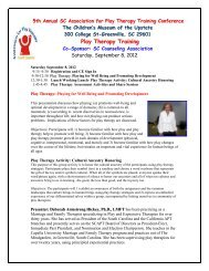 Play Therapy Training - South Carolina Counseling Association
