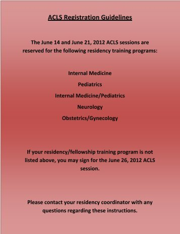ACLS Certification - Registration Form - Stritch School of Medicine