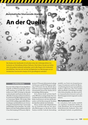 Automatische Sourcecode-Analyse An der Quelle - SecureNet GmbH