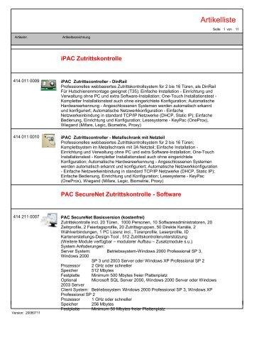 iPac Artikelkatalog (pdf) - Scanvest Zutrittskontrolle