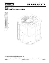 REPAIR PARTS - Goodman Manufacturing
