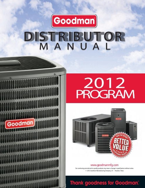 customer InFormatIon & total cost - Goodman Manufacturing