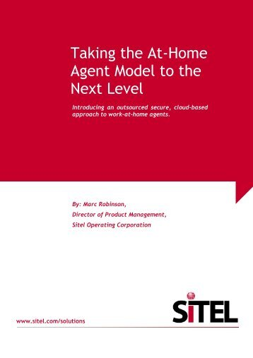Taking the At-Home Agent Model to the Next Level - Sitel