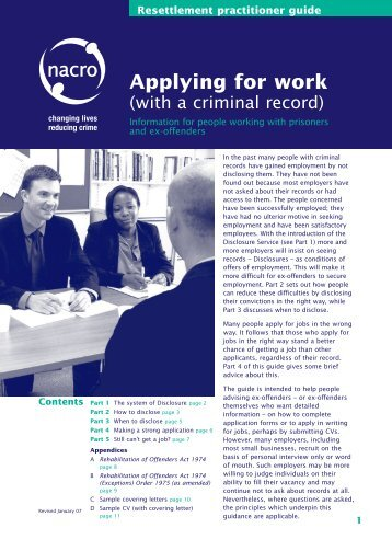 Applying for work (with a criminal record): resettlement - Nacro