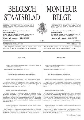 Staatsblad Moniteur - FaillissementsDossier.nl