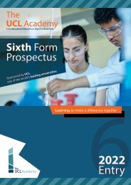 The UCL Academy - Sixth Form Prospectus - 2021 Entry
