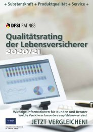 Qualitätsraiting der Lebensversicherer - DFSI-Raitings 2020/21