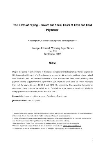 Private and Social Costs of Cash and Card ... - Suomen Pankki
