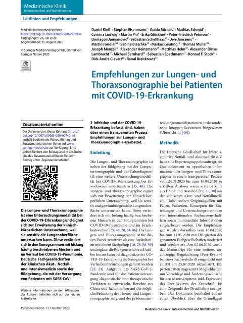 Empfehlungen zur Lungen- und Thoraxsonographie bei COVID-19