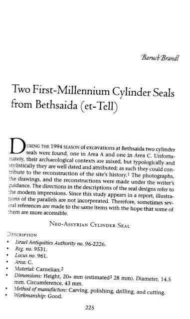 Two First-Millennium Cylinder Seals from Bethsaida