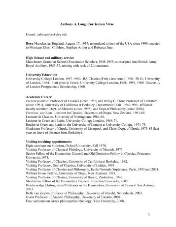 Anthony A. Long, Curriculum Vitae - Department of Classics ...