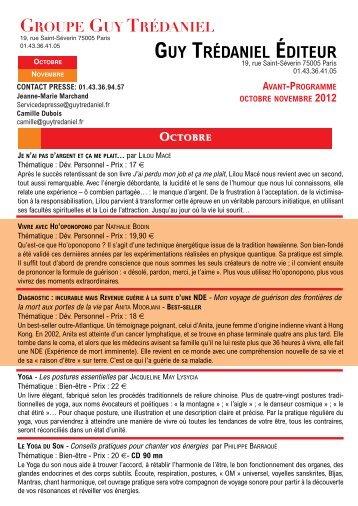 avant-programme octobre novembre 2012 - Courrier du Livre