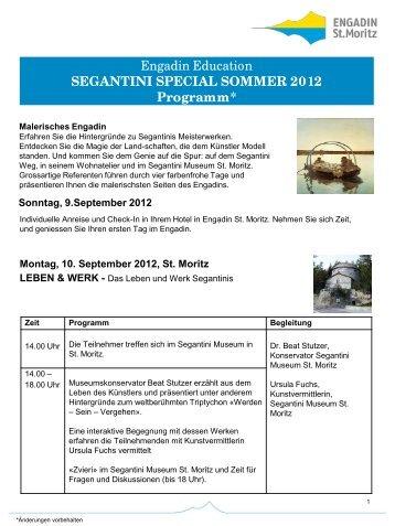 SEGANTINI SPECIAL SOMMER 2012 Programm - Hotel Post