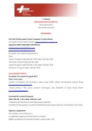 1° edizione SWISS MOUNTAIN FILM FESTIVAL 18-25 agosto 2012 ...