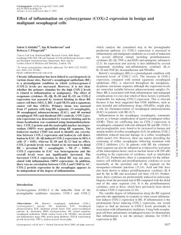 (COX)-2 expression in benign and malignant ... - Carcinogenesis