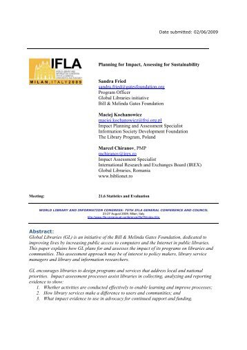 Planning for Impact, Assessing for Sustainability - IFLA Annual ...